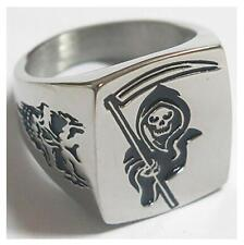 GRIM REAPER SICKLE STAINLESS STEEL RING size13 silver metal S-510 skull face NEW