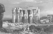 Temple Statue of MEMNON THEBES EGYPT ~Old 1835 Landscape Art Print Engraving