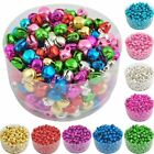100pcs Colorful Iron Loose Beads Christmas Jingle Bells Pendants Charms