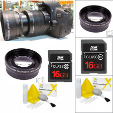 TELEPHOTO ZOOM LENS + CL KIT +16GB FOR CANON EOS REBEL T3 T3I T4 T4I T5 T5I 20D