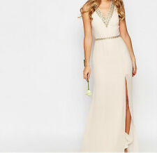 TFNC WEDDING V Front Embellished Strap Maxi Dress (E10) RRP £75.00 UK 14 - Nude