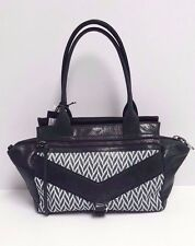 Botkier Trigger Small Leather Satchel (Black/White) MSRP: $298