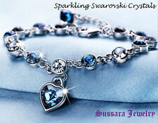 Made with Swarovski Heart Blue Crystal 18K Gold Plated Bracelet with New Tag