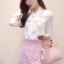 Women Elegant Bow Tie Collar Long Sleeve Chiffon Career Grid Blouse Shirt Tops