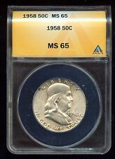 1958 Franklin Half Dollar Anacs Certified Ms-65 (3G682)