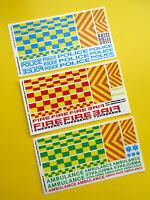 SLOT CAR SCALEXTRIC 1/32nd UK FIRE POLICE AMBULANCE stickers decals full set