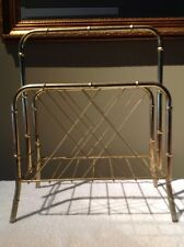 Vintage Brass Color BAMBOO Motif Metal Magazine Rack HOLLYWOOD CHIC EAMES Retro