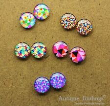 10PCS 12mm Handmade Mix Design Glass Cabochon Glass DomeCameo Cabs MCH022N