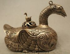 "6"" China Chinese Dyansty Palace Silver Mandarin Duck Incense Burner Censer"
