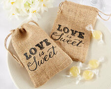 12 Love is Sweet Burlap Drawstring Wedding Bridal Shower Favor Bags Lot Q32065