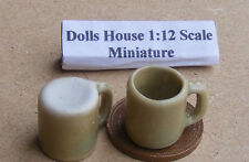 1:12 Scale 2 Ochre Ceramic Mugs Dolls House Miniature Kitchen Accessory O23