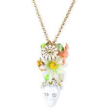 BETSEY JOHNSON 'Summer of Love' Skull Flower Pendant Gold-Tone Necklace