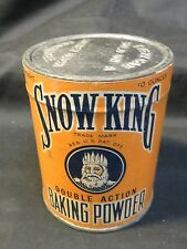 Vintage Snow King Baking Powder Tin Paper Label 10 oz Unopened