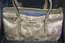Authentic Coach Madison Dotted OP Art Carryall Purse 16366 Khaki/Brown-RARE $358