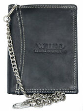 Black genuine leather biker's wallet Wild with chain to hang. Fast Shipping.