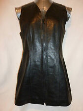 Black Steilmann leather dress/gilet/waistcoat.  Size 10