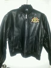 Leather Vanguard Motorcycle Jacket Harley Davidson HOG Patch Black L