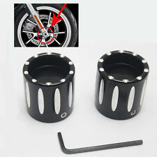 Black Deep Edge Cut Front Axle Cover Cap Nut #D For Harley Sportster XL883 1200
