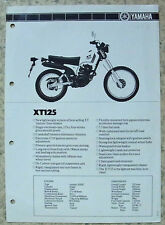 YAMAHA XT125 MOTORCYCLE Specification Leaflet c1983