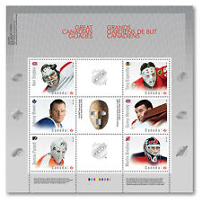 CANADA 2015 - 6 NHL HOCKEY CANADIAN GOALIES STAMPS  SOUVENIR SHEET