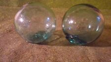 "Lot of (2) 2 1/4""  Glass Fishing Floats with Japanese Marking- Green"