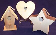Lot of 3 Unpainted Wooden Bird Houses, Shed, Star & Heart Shapes, Craft Project!