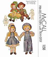 Vintage McCall  1158 - 18-19 inch rag dolls and clothes sewing pattern