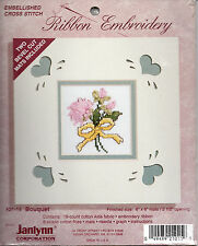 Flowers Bouquet Embellished Cross Stitch Mats Included Ribbon Embroidery New
