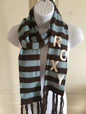 Womans Roxy Knit Scarf Winter Snow Teal Brown