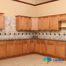 Solid Wood Cabinets 10X10 RTA Kitchen Cabinets, Shaker Cabinets, Color: Amber