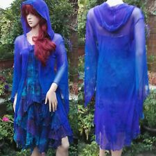 Dark Star Tie Dye Gothic Blue & Purple Fishnet Sheer Hooded Jacket Freesize