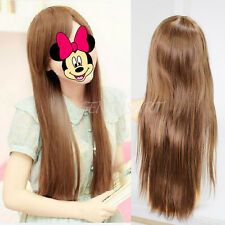 Sexy Women Girls Charming Full Wig Straight Long Hair Hairpiece Light Brown New