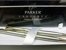 PARKER INSIGNIA STAINLESS STEEL & GOLD  BALLPOINT PEN & PENCIL SET NEW IN BOX