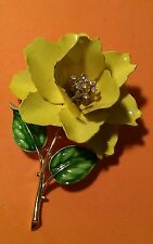 vintage crown Trifari enamel flower brooch