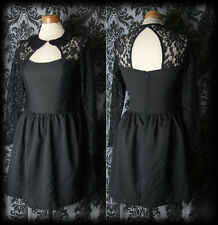 Goth Black Lace Peter Pan Collar TWISTED Open Back Dress 6 8 Vintage Victorian
