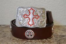 Enmon Engraved Rhinestone Cross Western Belt Buckle Cowgirl Concho Leather Med