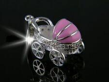 Elegante argento colorato rimorchio-CHARMS-Passeggino-PINK - Sterling argento