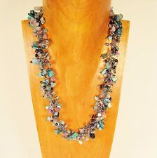 """22"""" Blue Pink Stone Shell Chip Handmade Seed Bead Necklace FREE SHIPPING!"""