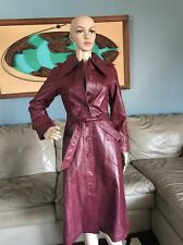 Vintage 70's 1970's Maroon Plum Red Long Leather Belted Trench Coat Woman's XS