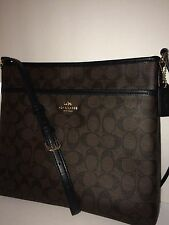 NWT COACH Signature File CrossBody PVC Brown/Black-F34938 (Free Shipping)