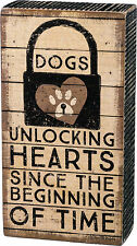 "PBK Wood Wooden Rustic 6 1/2"" x 3 1/2"" Small BOX SIGN ""Dogs Unlocking Hearts..."""