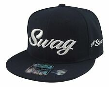 NEW VINTAGE SWAG 3D EMBROIDERY FLAT BILL SNAPBACK BASEBALL CAP HAT BLACK