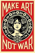 """shepard fairey """"Obey"""" lithographie signée make art not war + 5 stickers (OBEY)"""