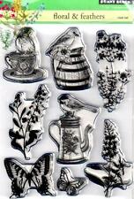 New Penny Black RUBBER STAMP clear Acrylic FLORAL & FEATHERS BIRDS  free us ship