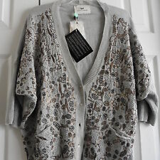 NWT, Day (Birger et Mikkelsen) Sequined Top, 3/4 Sleeves, Gray, 100% Cotton, L