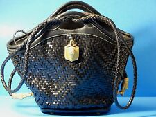 Barry Kieselstein-Cord Leather Alligator Black Woven Bag Purse Trophy Drawstring