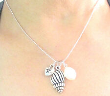 Personalized Spindle Sea Shell Necklace initial Oyster Charm w/pearl necklace