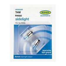 2x Ring BA9S (T4W) 12v Ice Blue Side/Tail Light Bulbs - RW833