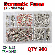 Assorted Box of Domestic Fuses 1 2 3 5 7 10 13 a amp Plug Top Fuse Qty 280