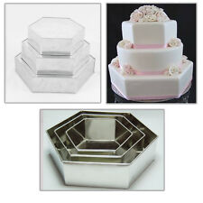 "3 TIER CHRISTMAS HEXAGON WEDDING CAKE TINS  8"" 10"" 12"""